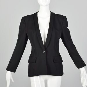 Small 1990s Giorgio Armani Blazer Black Shawl Collar Menswear Style Wool Blazer Jacket