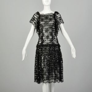 Small 1980s Lillie Rubin Dress Sheer Lace Sexy Sequin Ruffle 1980s Prom Dress