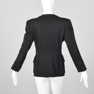 Small 1990s Giorgio Armani Blazer Black Shawl Collar Menswear Style Wool Blazer Jacket  - Fashionconstellate.com