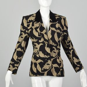 XS 1980s Escada Evening Jacket Black and Tan Blazer Ivy Leaf Vine Print Velvet Trim Collar