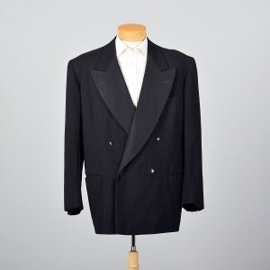 46L XL-XXL 1940s Mens Tuxedo Jacket Double Breasted Peaked Lapels Jetted Pockets