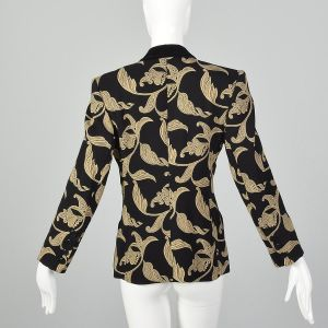 XS 1980s Escada Evening Jacket Black and Tan Blazer Ivy Leaf Vine Print Velvet Trim Collar  - Fashionconstellate.com