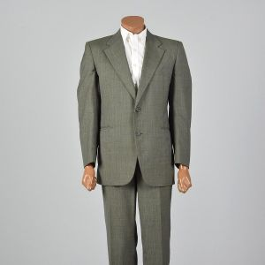 43R 1970s Green Plaid Suit Two Piece Convertible Pockets Matching Set Flat Front Pants - Fashionconstellate.com