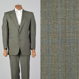 43R 1970s Suit Green Plaid Two Piece Convertible Pockets Matching Set Flat Front Pants