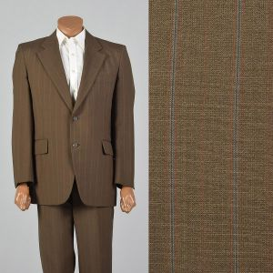 44R 1970s Suit Brown Two Button Jacket Matching Pants Striped Convertible Pockets Single Vent