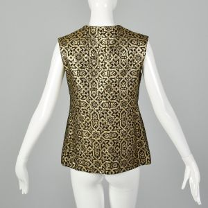 Medium 1970s Gold Vest Metallic Tapestry Black Sleeveless Bohemian Top - Fashionconstellate.com