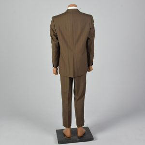 44R 1970s Suit Brown Two Button Jacket Matching Pants Striped Convertible Pockets Single Vent  - Fashionconstellate.com
