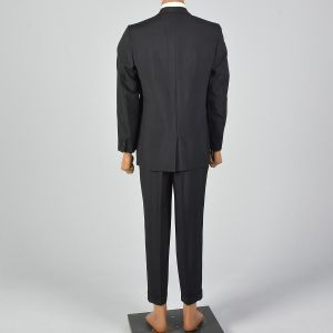 41R 1950s Suit Black Two Piece Convertible Pockets Three Button Jacket Pleat Front Cuffed Hem Pants - Fashionconstellate.com