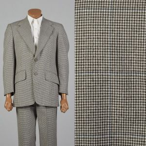 40R 1970s Suit Brown Houndstooth Convertible Flap Pockets Wide Lapel Jacket Flat Front Pants