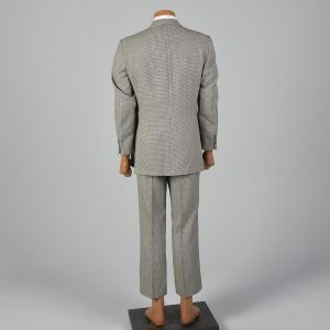 40R 1970s Suit Brown Houndstooth Convertible Flap Pockets Wide Lapel Jacket Flat Front Pants - Fashionconstellate.com