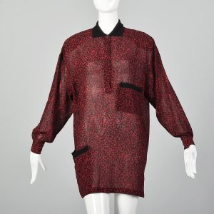 Medium Gianni Versace 1980s Silk Tunic Dress Red and Black Leopard Animal Print Long Sleeve Dress