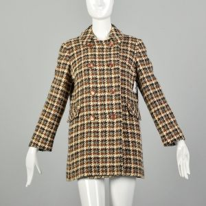 Small 1960s Tweed Coat Plaid Winter Car Coat Mod Double Breasted