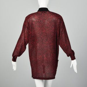 Medium Gianni Versace 1980s Silk Tunic Dress Red and Black Leopard Animal Print Long Sleeve Dress - Fashionconstellate.com