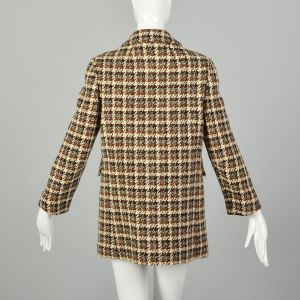 Small 1960s Tweed Coat Plaid Winter Car Coat Mod Double Breasted  - Fashionconstellate.com