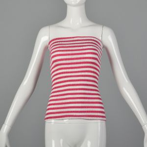 XS 1970s Tube Top Pink and White Striped Shirred Stretchy Summer Top