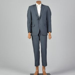 Large 40S 1960s Mens Sharkskin Striped Suit Two Button Jacket Convertible Pockets Flat Front Pants - Fashionconstellate.com