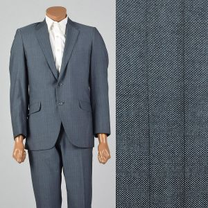 Large 40S 1960s Mens Sharkskin Striped Suit Two Button Jacket Convertible Pockets Flat Front Pants