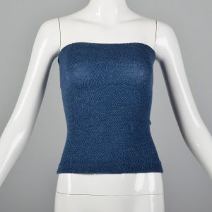 XS 1970s Tube Top Solid Blue Shirred Stretch Summer