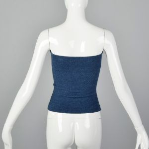 XS 1970s Tube Top Solid Blue Shirred Stretch Summer - Fashionconstellate.com