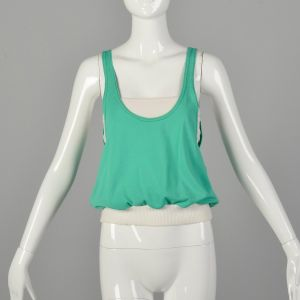 XS 1970s Set Tube Top Roller Girl Muscle Shirt Activewear Green Tank  - Fashionconstellate.com