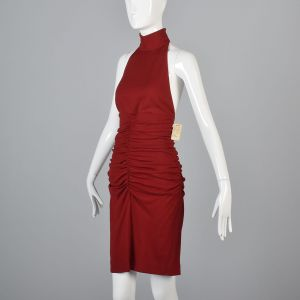Medium 1980s Red Anne Klein Bodycon Halter Dress Backless - Fashionconstellate.com