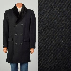 Large 1970s Coat Black Faux Fur Double Breasted Winter Outerwear