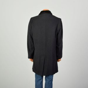 Large 1970s Coat Black Faux Fur Double Breasted Winter Outerwear - Fashionconstellate.com