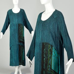 XL 1990s Bohemian Maxi Dress Layered Teal Black Print