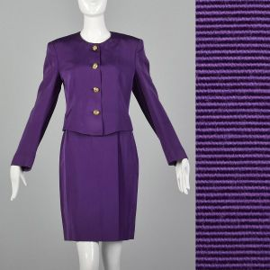 Small 1980s Jaeger Skirt Suit Purple Striped Gold Button Blazer Jacket Matching Pencil Skirt