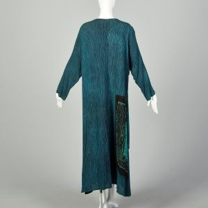 XL 1990s Bohemian Maxi Dress Layered Teal Black Print  - Fashionconstellate.com