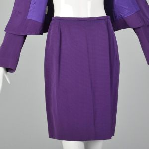 Small 1980s Jaeger Skirt Suit Purple Striped Gold Button Blazer Jacket Matching Pencil Skirt  - Fashionconstellate.com