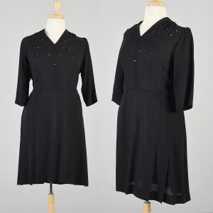 XXL 1940s Dress Long Sleeve Black Crepe Beaded Bust Bodice Elegant Cocktail Evening Semi Formal