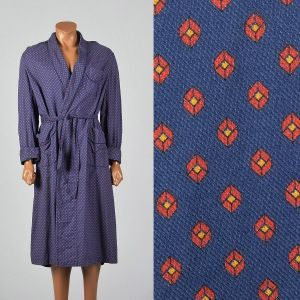 Medium 1960s Blue Cotton Robe Long Sleeve Cuffed Matching Belt Patch Pocket