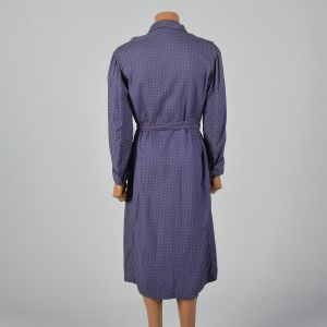 Medium 1960s Blue Cotton Robe Long Sleeve Cuffed Matching Belt Patch Pocket - Fashionconstellate.com