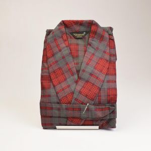 Small 1960s Mens Robe All Cotton Flannel Red Gray Plaid Sleepwear Loungewear