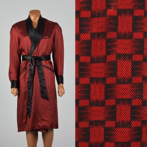 Medium 1950s Robe Red and Black Smoking Jacket Long Sleeve
