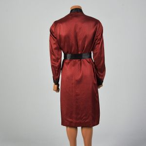 Medium 1950s Robe Red and Black Smoking Jacket Long Sleeve  - Fashionconstellate.com