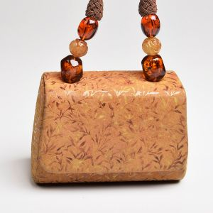 Tan Embossed Suede Mini Bag Brown Beaded Rope Handle Leather Crossbody Purse - Fashionconstellate.com