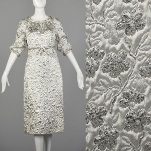 Medium Silver Dress 1960s Metallic Floral Quilted Brocade Space Age Mod