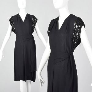 XS 1940s Black Rayon Dress Sequin Trim Sleeves Short Sleeve Cocktail Dress Evening Wear New Years