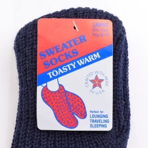 1980s NOS Navy Blue Knit Bootie Sweater Socks Slippers Slip On Loungewear Size 9 - 11 - Fashionconstellate.com