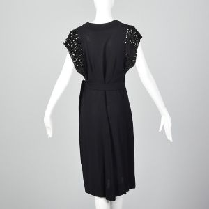 XS 1940s Black Rayon Dress Sequin Trim Sleeves Short Sleeve Cocktail Dress Evening Wear New Years - Fashionconstellate.com
