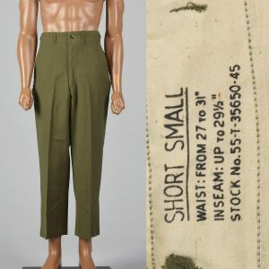 Men's Small 1950s Green Military Field Trousers Wool Adjustable Waist Slightly Tapered Leg