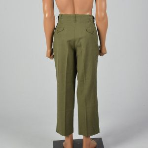 Men's Small 1950s Green Military Field Trousers Wool Adjustable Waist Slightly Tapered Leg - Fashionconstellate.com