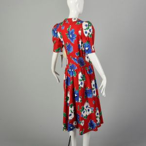 Large 1980s Dress Cotton Red Floral Print Deadstock - Fashionconstellate.com