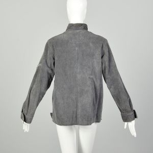 Size 14 1970s Grey Suede Winter Jacket Faux Fur Lining Turn Buckles at Collar and Cuffs - Fashionconstellate.com