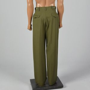 Small 1950s Green Winter Weight Military Field Trousers Straight Leg Button Fly Wool - Fashionconstellate.com