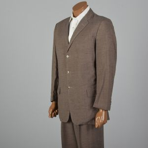 42L 1950s Brown Fleck Summer Suit Three Button Jacket Single Vent Matching Pleat Front Pants  - Fashionconstellate.com