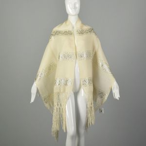 1970s Winter White Silver Scarf Ivory Wool Wide Long Ethnic Fringe