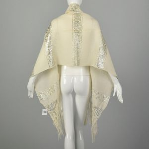 1970s Winter White Silver Scarf Ivory Wool Wide Long Ethnic Fringe - Fashionconstellate.com